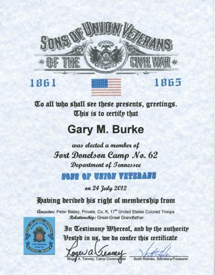 Burke Sons of Veterans Certificate