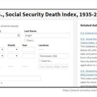US Social Security Death Index Card Catalog