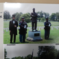 Boggs, Hill, and Radcliffe with the memorial statue for the USCT in the Nashville National Cemetery